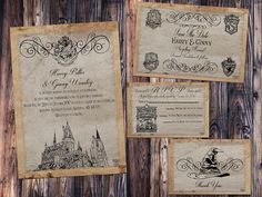 Hogwarts Parchment Wedding Invitation, Save the Date, RSVP, and Thank You Digital File Kit Hogwarts magic Printable Harry Potter Inspired