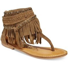 Naughty Monkey Hidden Treasure Flat Fringe Sandals ($80) ❤ liked on Polyvore  featuring shoes