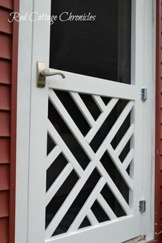DIY Wood Screen Door Tutorial – Red Cottage Chronicles – farmhouse front door with screen Screen Door Pantry, Wood Screen Door, Wooden Screen, Wood Doors, Front Screen Doors, Screen Door Grill, Black Screen Door, Painted Screen Doors, Vintage Screen Doors