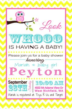 Look Whooo is having a Baby Owl Baby Shower Invite :) adorable!!