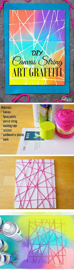 Check out this easy idea on how to make #DIY #canvas string art graffiti wall decor #homedecor #apartments #budget #crafts @istandarddesign