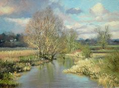 """""""February sunlight"""" (2014) By Peter Barker, from Banbury, Oxfordrshire, England (current location, South Luffenham, England) - oil on board; 6 x 8 in - http://www.peterbarkerpaintings.co.uk/"""