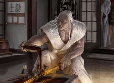 Fantasy Asian art. Legend of the five rings. Oriental artwork and illustrations - digital renderings Asahina Yajinden