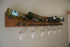 Rustic Wine Rack red oak railroad spike 4 by FarmhouseWoodAndIron, $180.00