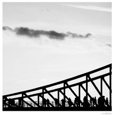 frankfurt, brücke, bridge, people on the bridge, silhouette