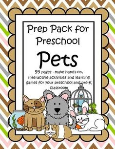 This is a comprehensive set of printables with a PETS theme - make hands-on, interactive activities and learning games for your preschool and pre-K classroom. Engaging graphics, most activities are developmentally appropriate for ages 3 - 6, and SPED. 93 pages.