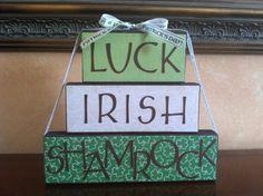 St Patrick's Day Block Stacker  Luck Irish by WoodnExpressions, $18.00