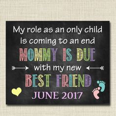 Sibling Pregnancy Announcement, Printable Chalkboard Poster, Sibling Pregancy Reveal, Sibling Photo Prop, Mommy's Due with my Best Friend