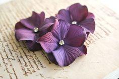 Purple Hydrangea Hair Flowers 3pcs Floral Hair Clips #hydrangea #purple #wedding #hair #bridesmaids