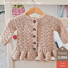 Super cute Soft Wool Peplum Cardigan pattern is up for sale! Today for special price! Hurry up!