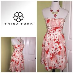 Selling this Trina Turk red and white floral strapless dress in my Poshmark closet! My username is: jdenny09. #shopmycloset #poshmark #fashion #shopping #style #forsale #Trina Turk #Dresses