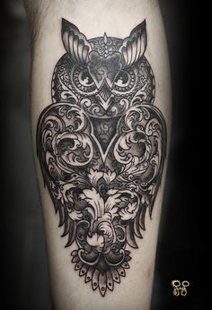 Unique Dotwork Owl Tattoo Design For Leg Calf