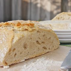 FIVE MINUTE BREAD.  MIX UP A LARGE BATCH OF DOUGH AND STORE IT IN THE FRIDGE FOR A WEEK OR TWO. DURING THAT TIME, WHENEVER YOU WANT SOME BREAD, JUST CUT OFF A CHUNK OF DOUGH WITH A BREAD KNIFE, LET IT COME TO ROOM TEMPERATURE ON YOUR COUNTER, AND BAKE.