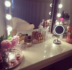 Makeup storage/ IKEA mirror and lights