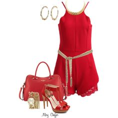 Red Romper, Red Romper by mcheffer on Polyvore featuring polyvore, fashion, style, Vince Camuto, Kate Spade, Anne Klein and Gucci
