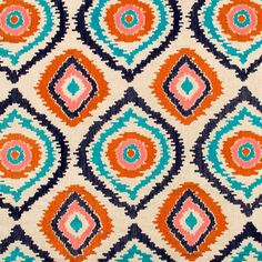 A modern ikat upholstery fabric in an embroidered design of tangerine, navy blue, pink coral and turquoise on a natural woven linen background. Color palette is shown in the second image. This fabric is suitable for light furniture upholstery, all window treatments, pillows and