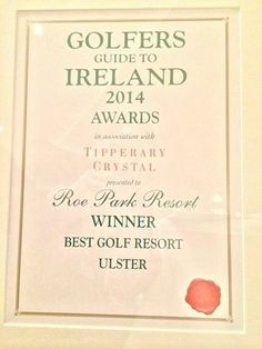 We're delighted to be voted the Best Golf Resort in Ulster by Golfers Guide to Ireland