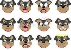 Rottweiler Emoticons Royalty Free Stock Vector Art Illustration