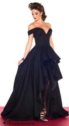 black prom dress 2016, off the shoulder long prom dresses, high low prom dress, evening dress