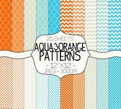 Aqua and Orange Digital Paper Pack  Chevron Polka by SimplyBrenna, $3.00