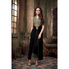 Lattest Fancy Attractive Black color Koti Embro Designer Salvar Suit