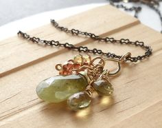 Grossular Garnet Wire Wrapped Pendant Necklace Gold by dianedesign, $36.00