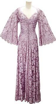 1980s Joan Collins peignor worn on DYNASTY!  Nolan Miller Couture Designed Lavender Lace Peignoir Set of Slip Gown and Robe.
