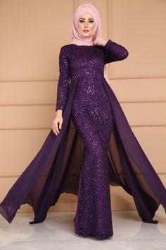 Şifon Kuyruklu Payetli Abiye PN2002 Mor Modesty Fashion, Muslim Fashion, Hijab Fashion, Style Fashion, Maternity Dresses, Bridal Dresses, Maxi Dresses, Hijab Dress Party, Dress Brokat