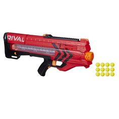 Experience intense head-to-head competition with the ultimate precision and power of the Nerf Rival Zeus blaster. Nerf Gun, Transformers, Pistola Nerf, Nerf Toys, Sci Fi Weapons, Red Team, Kids Store, Christmas Toys, Christmas 2015