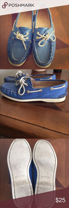 Sperry for J.Crew blue boat shoes Gently used blue Sperry Top-Sider for J.Crew boat shoes. Sperry Top-Sider Shoes Flats & Loafers