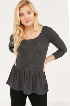 Cooperative Cozy Ruffle Hem Shirt - Urban Outfitters @urbanoutfitters