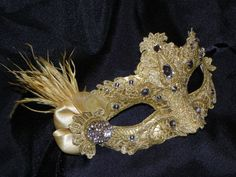 New to TheCraftyChemist07 on Etsy: Lace Venetian Mask in Shades of Gold - Made to Order (40.00 USD)