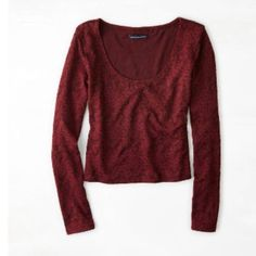 crop top OMG sleeve crop top, maroon/red, tight, scoop neck, mint condition, lace design American Eagle Outfitters Tops Crop Tops