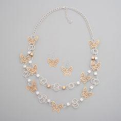 Filigree Butterfly Necklace Set