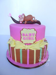 Baby shower cake for a baby girl monkey theme