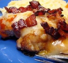 Monterey Chicken- with Apple smoked bacon, Jack Cheese, Honey and BBQ Sauce...YUM!