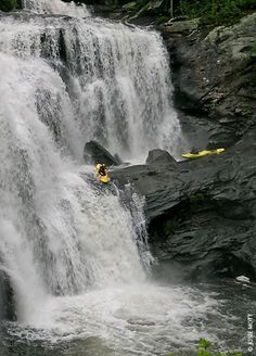 Kayaking on Bald River Falls, TN;  on the Tellico River, near the Tennessee - North Carolina border;  over 80 feet high