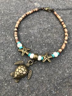 Ankle Bracelet Turtle Anklet Beach Anklet Anklet Beaded Anklet Womans Anklet Starfish Anklet Beach Jewelry Boho Anklet - Anklet - Ideas of Anklet - Ankle Bracelet Turtle Anklet Beach Anklet Anklet Beaded Ankle Jewelry, Ankle Bracelets, Jewelry Bracelets, Jewelery, Feet Jewelry, Necklaces, Seashell Jewelry, Beach Jewelry, Boho Jewelry