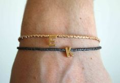 Tiny gold letter bracelet - Personalized Friendship Bracelet - Tiny and Delicate Initial-Letter Bracelet - Monogram Bracelet - Name bracelet on Etsy, $15.00