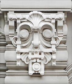 Motif décoratif de l'immeuble art nouveau  situé au n°10b de l'avenue Elizabeth à Riga en Lettonie Architecte : Mikhail Eisenstein