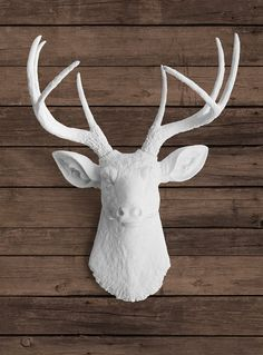 Faux White Deer Head with White Antlers - Ceramic Taxidermy Stag Wall Decor Mount - Resin Plastic Forest Fake Animal Fauxidermy Art on Etsy, $84.97