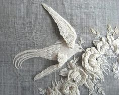 Whitework. Annatextiles.  Detail photo of historic embroideries of the Iklé collection, St.Gallen, Switzerland.