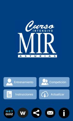 MirQuiz Curso MIR -  Descarga para Android https://play.google.com/store/apps/details?id=es.netkit.mirquiz&hl=es Descarga para iOS https://itunes.apple.com/es/app/mirquiz-curso-mir/id899124017?mt=8