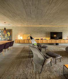Interiores brutalist, com muito concreto. Block screens, Studio MK27,architecture,concrete design