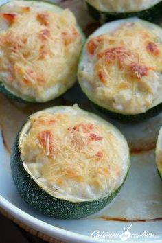 Courgettes rondes farcies au saumon fumé et au fromage frais - Cuisinons En Couleurs