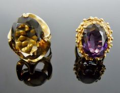 Ladies14K Gold Rings, Topaz and Amethyst, (2pc) : Lot 0031