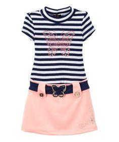 Love this Navy & Pink Stripe Butterfly Belt Dress - Girls on #zulily! #zulilyfinds