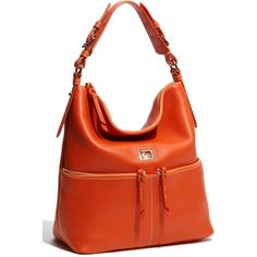 Dooney & Bourke 'Pocket Sac - Medium' Zip Hobo ($278) ❤ liked on Polyvore featuring bags, handbags, shoulder bags, women, cell phone shoulder bag, cell phone purse, hobo purse, red purse and red handbags