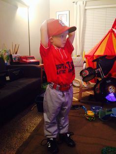 Practicing what I presume will be his outfield stance... His first game is tomorrow... Time shall tell!