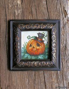 30 Paintings in 30 Days: Day 14 - The Darling Pumpkin before the Sparrow Came -  #30in30 #Painting #Gouache #HalloweenArt #Halloween #JackOLantern #Pumpkin